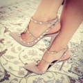 FSJshoes: Nude With Rivets Slingback Pumps T-Strap Stiletto Heels Shoes