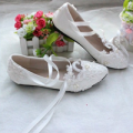 FSJshoes: White Lace Wedding Flats Strappy Comfortable Shoes