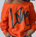 Roaso: Roaso Long Sleeves Letters Printing Orange Hoodies For $21.2