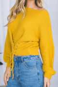 Poppoly: Poppoly Enjoy Time Casual Lace-up Sweater For $22.25