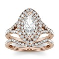 CHARLES & COLVARD: New Shape: Marquise Colorless Moissanite Split Shank Double Halo Bridal Set