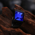 Mobstub: 87% Off - Matte Black Stainless Steel Sapphire Gem Ring