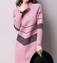 Stylewe: Stand Collar Long Sleeve Midi Dress Only For $56.05