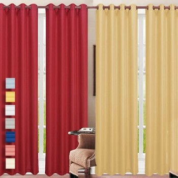 Mobstub: 79% Off -  Heavy Faux-Linen Grommet Curtains And Panels- 10 Colors