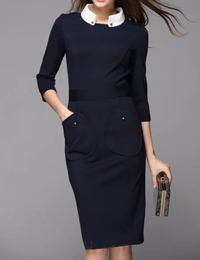 Stylewe: 15% Off Dark Blue Sheath 3/4 Sleeve Midi Dress