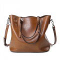 Stylewe: Solid Cowhide Leather Medium Zipper Simple Tote