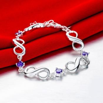 Mobstub: 87% Off - Sterling Silver Infinite Amethyst Gem Bracelet