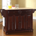 Best Priced Furniture: Alexandria Natural Wood Top Kitchen Island In Vintage Mahogany Finish