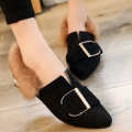 JustFashionNow: Black Pointed Toe Furry Women Slip-On Flats