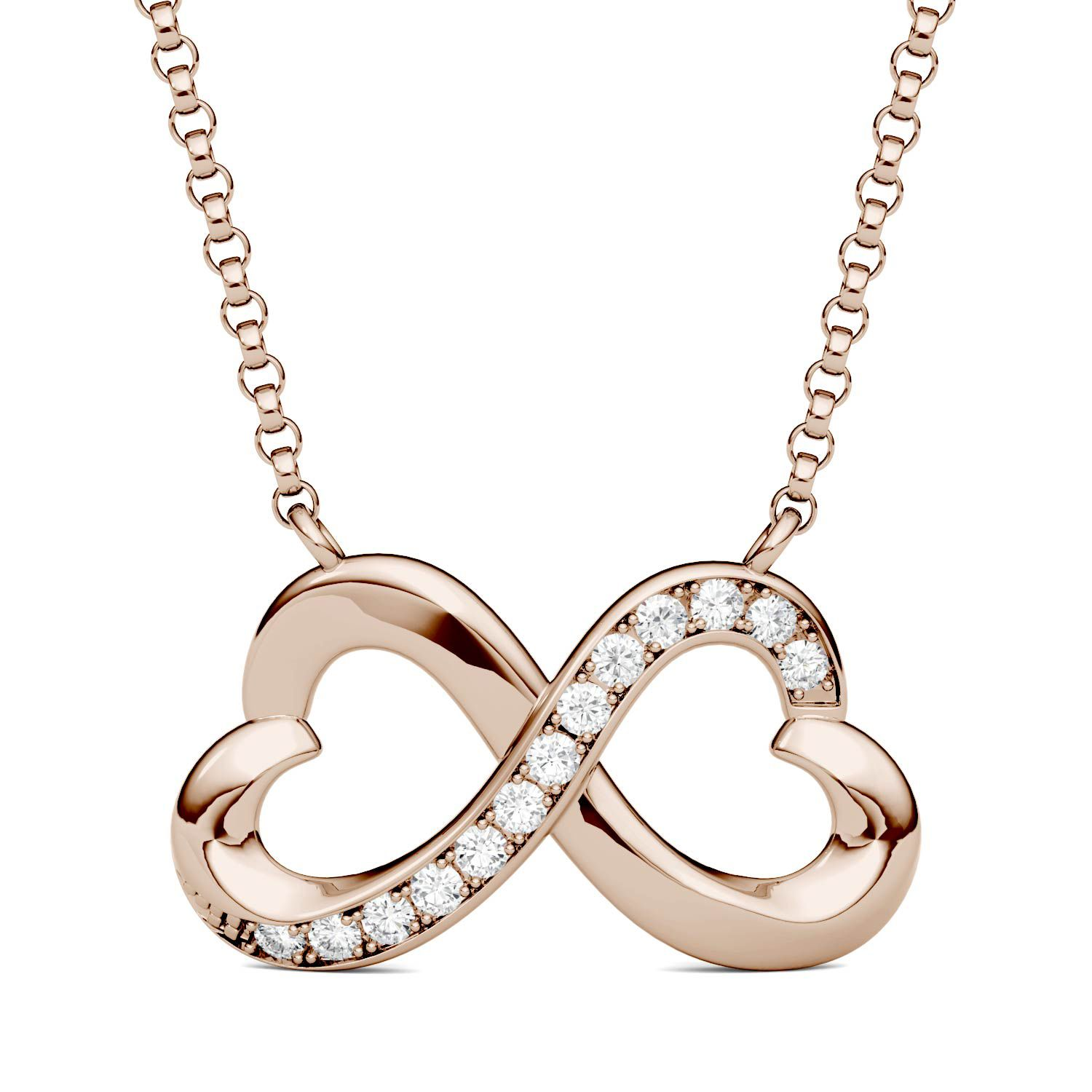 CHARLES & COLVARD: Round Colorless Moissanite Infinity Heart Necklace