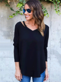 Znu: Women V Neck Long Sleeve Knitwear For $12.25