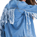 Roaso: Roaso Trendy Turndown Collar Tassel Design Light Blue Denim Coat For $40.5