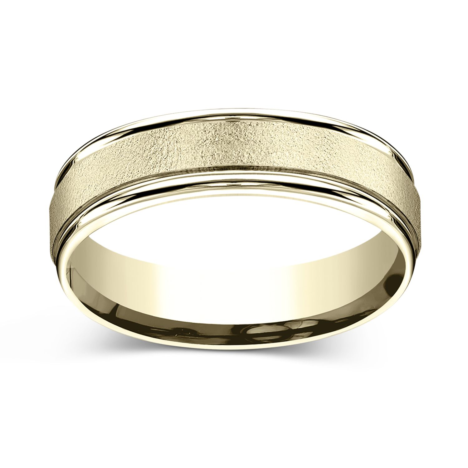 CHARLES & COLVARD: Wired Finish Center With Round Grooved Edges 6.0mm Wedding Band