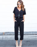 Novashe: 38% Off Women's Solid V Neck Short Sleeve Jumpsuit