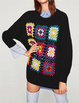 Whatsmode: 30% Off Oversized Geometrical Pattern Knitted Colorful Sweater