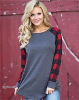 Novashe: 30% Off Round Neck Plaid Sleeve Tee Shirt
