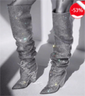 Shoes Pie: 53% Off Rhinestone Heels Sexy Knee High Boots