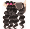 Unice: Peruvian Body Wave Lace Closure With 3pcs Human Hair Weave For $81.69