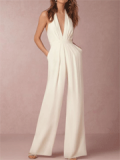 Bellalike: Halter Pocket Plain Wide-Leg Jumpsuit For $29.95