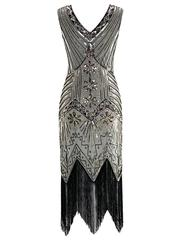 Retro-stage: 60% Off Champagne 1920s Beaded Sequined Fringe Flapper Dress