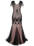 Retro-stage: 60% Off Pink Cap Sleeve Sequin Evening Dress