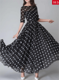 Fashion Mia: 75% Off Round Neck Ruffled Hem Printed Maxi Dress