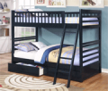 Wholesale Furniture Brokers: 24% Off Fraser Navy Twin Over Twin Bunk Bed With Storage Drawers And Solid Wood