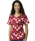 Lydia's Uniforms: Zoe + Chloe I Love America Print V-Neck Scrub Top Just $14.98