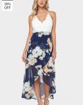 Yoins: 39% De Descuento Wrap Front Floral Print Maxi Dress Con Encaje Detalles