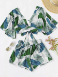 Romwe: 70% Off Self Tie Tropical Print Top With Shorts