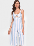 Chicgal: Striped Knot Padded Sleeveless Jumpsuit For $26