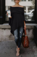 Hellocloth: Off Shoulder Asymmetric Hem Plain T-Shirts