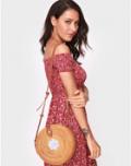 Chicgal: 18% Off Floral Adjustable Strap Round Rattan Shoulder Bag
