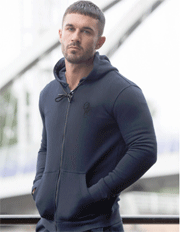 ENZO Jeans: Mens Designer Navy Athletic Hoodie Confirm For £21.99