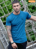 ENZO Jeans: Designer Mens Short Sleeved Blue Fitted T-Shirt For £9.99