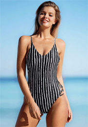 Cupshe: 24% Off The Little Lady Striped One-Piece Swimsuit