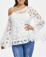 TwinkleDeals: Full Sleeve Crochet Blouse For $26.91