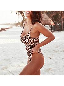 Trendysuper: 60% Off Spaghetti Strap Leopard One Piece