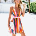 Maxinina: 50% Off Spaghetti Strap Backless Striped Sleeveless Skater Dresses