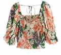 Goodnight Macaroon: Down To $46 Of 'FIONA' FLORAL PRINT SQUARE NECK PUFF SLEEVE TOP